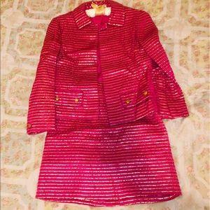 Vintage DIOR bright pink & gold skirt suit